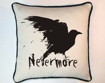 Nevermore Raven Edgar Allen Poe ElementeesTM Pillow Cover for the nerd in you