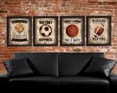 Famous Sports Quotes - Set of 4 photo prints -  Poster Wall Art Beige Tan Black Vintage Soccer Baseball Football Basketball Boys Room Decor