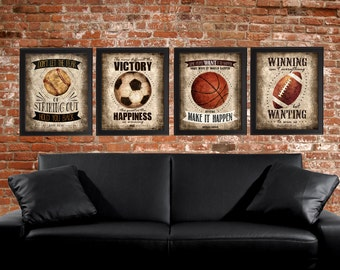Famous Sports Quotes - Set of 4 photo prints -  Poster Wall Art Beige Tan Black Vintage Soccer Baseball Football Basketball Boys Room Decor