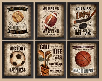 Famous Sports Quotes - Set of 6 photo prints -  Poster Wall Art Vintage Golf Hockey Soccer Baseball Football Basketball Boys Room Decor