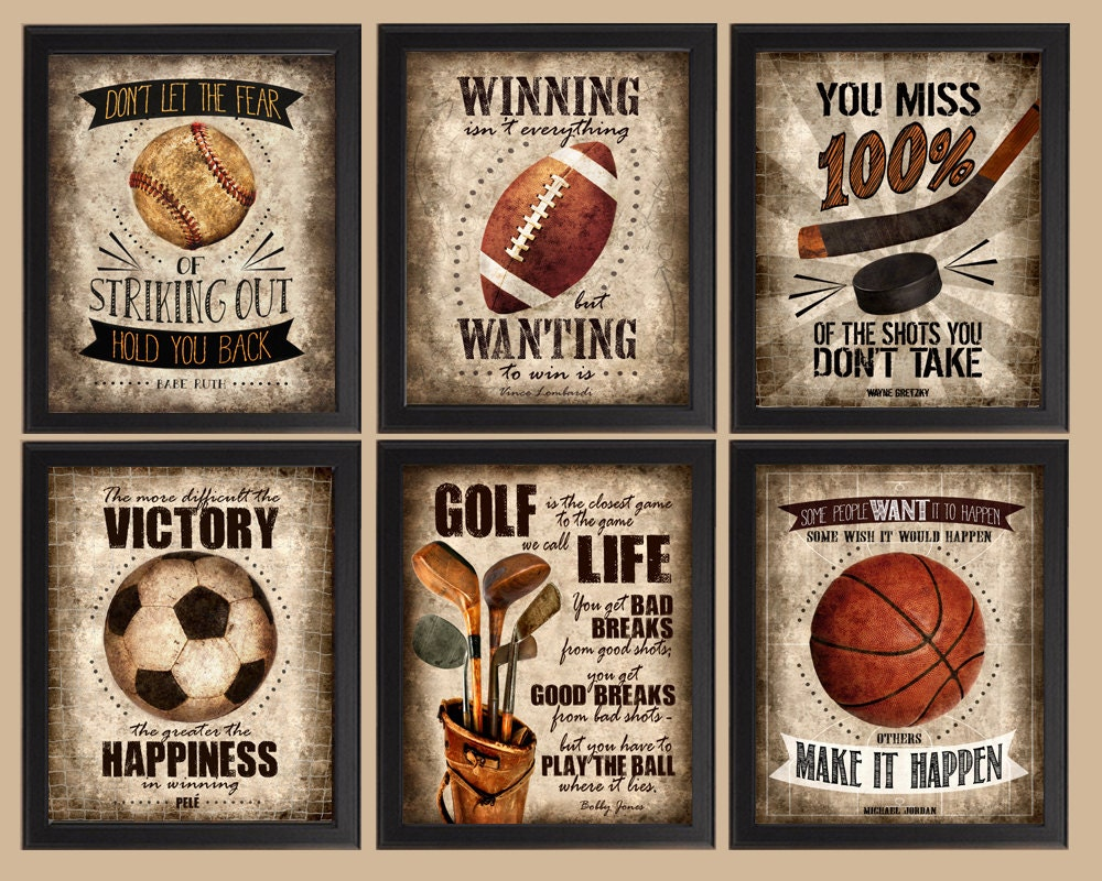 Famous sports quotes set of 6 photo prints poster wall for Vintage basketball wall art
