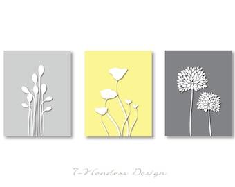 Modern Flower Digital Fine Art Prints - Poppy, Bursts, Reeds - Set of (3)  Prints - Yellow and Gray Colors // 5x7 OR 8x10 // Modern Wall Art