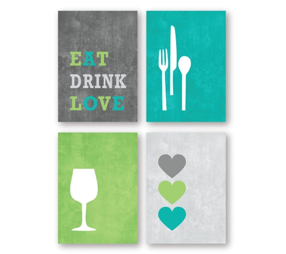 Modern kitchen or dining room wall art print set eat drink for Kitchen dining room wall art