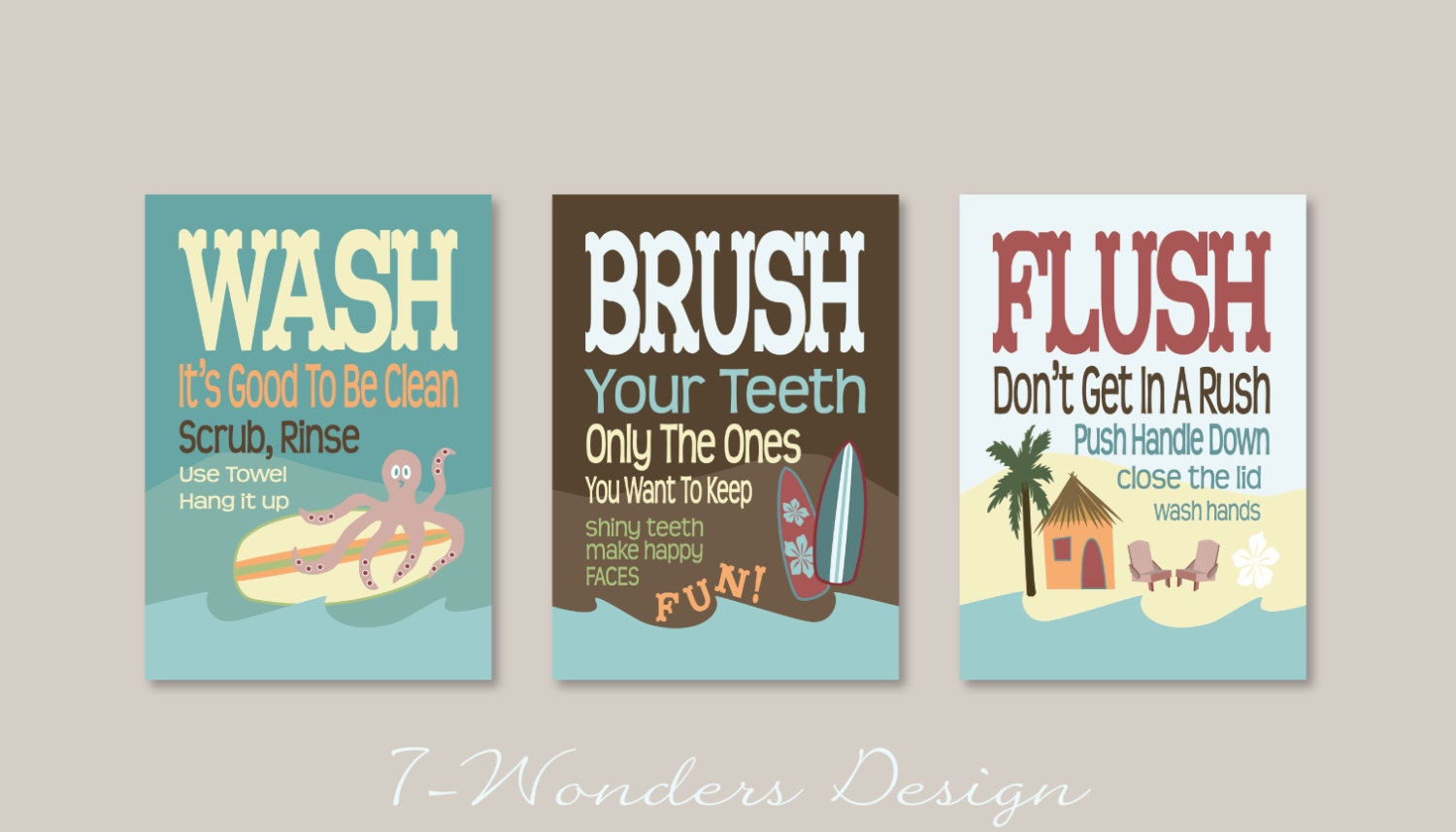 childrens kids bathroom art prints set of 3 5 x by 7wondersdesign