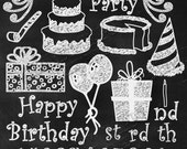 28 Chalk Overlays (TRUE overlay) Shaded PNG Birthday Party Digital Graphic Elements +  12X12 Chalkboard (Jpg) Scrapbooking Photography Cards