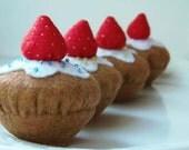 Felt food.Felt Cupcake.Cupcake with Strawberry.Set of 4 Original Desing.