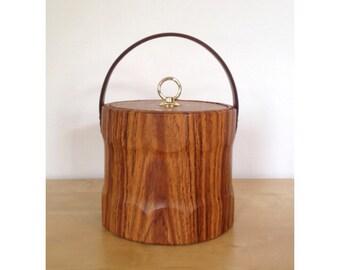 Mid Century Faux Woodgrain Ice Bucket
