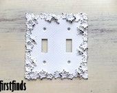 Double Flower Light Switch Plate Shabby Chic Electrical Wall Cover Vintage White Plate Cottage Metal Wall Decor Painted DETAILS LISTED BELOW
