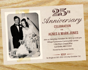 Popular items for add photos on etsy for Free printable 60th wedding anniversary invitations