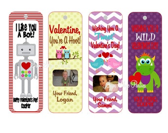 Valentine's Day Personalized Bookmarks DIY Printable, Class Valentine's, Children's Valentine's, PDF File