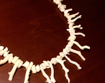 White Coral Branch Necklace Vintage Italy