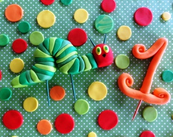"Fondant ""very hungry caterpillar"" inspired cake toppers, caterpillar cake, caterpillar cupcake, fondant caterpillar birthday party, number"