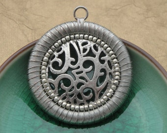 Woven Wire Wrapped Pendant, Artisan Wire Necklace, Oxidized Silver Pendant, Wire Weaving, Scroll Work, Beaded Metal, Medieval Medallion