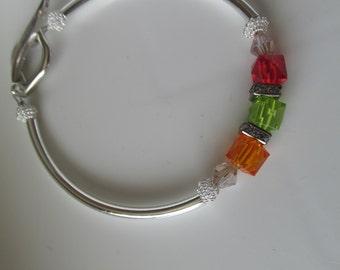 Swarovski Cube Bracelet, Birthstone Bracelet