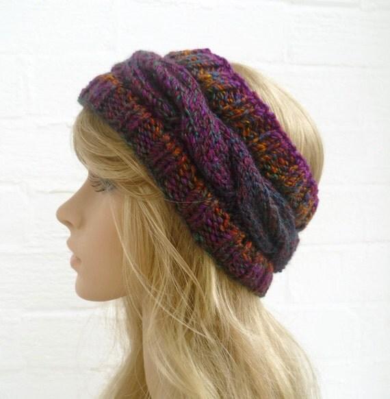 Hand Knit Headband Earwarmer, Cabled Purple Green Gold Headwrap. Womens Headband, Accessories, Acrylic Knit Hat, Clickclackknits