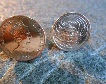 Cayman Island Ten Cent, Queen Elizabeth II Coin Cufflinks