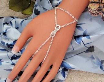 Sliding Infinity Slave Bracelet, Hand Chain, Handflower, Bracelet Ring, Hand Harness