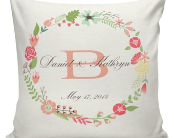Custom Wedding Gift, Personalized Wedding Pillow, Cotton Anniversary, Gift Cotton and Burlap Pillow Cover Choose your Date #WE0013