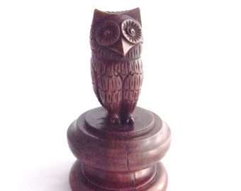 Vintage hand carved Folk/Greek Owl of Athena/Minerva style Victorian period wooden owl on turned wooden column base/plinth