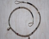 Silver and Gemstone bead necklace. Raindrop Necklace, Handmade, labradorite, ruby pearl and Matt Haematite necklace