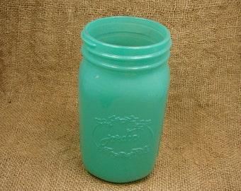Mason Jar Vase- Milky Green Color