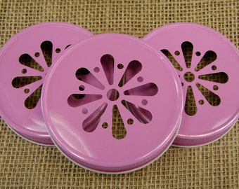 Pink Daisy Cut Mason Jar Lids - 12 Lids Only....DLP-12
