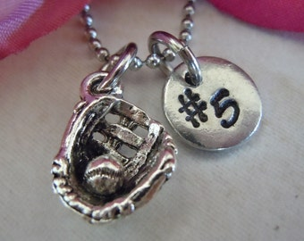 Baseball necklace softball necklace baseball mitt antique silver initial necklace initial hand stamped personalized monogram gift