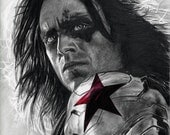 Drawing Print of The Winter Soldier (Sebastian Stan) from Captain America: The Winter Soldier