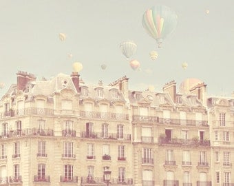 Paris Hot Air Balloons, Travel Photo Print, Pastel Paris, Light Color, Whimsical, Nursery Decor, Paris Theme, French, Pale Blue, Pink, Cream
