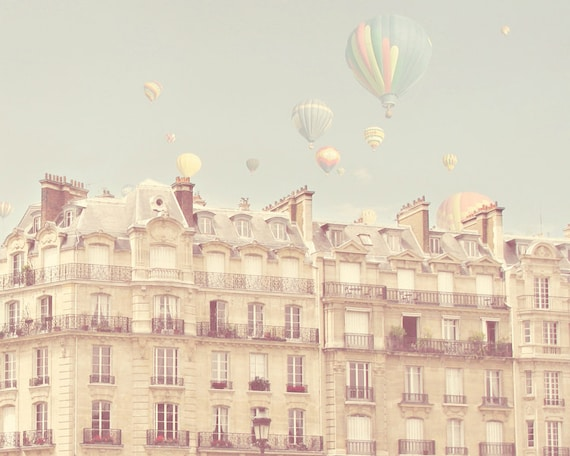Paris Hot Air Balloons Travel Photo Print Pastel Paris