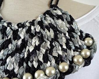 Bib Necklace textile - statement necklace -OOAK - fabric necklace - crochet necklace