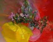 Abstract painting flowers still life art red lilac large artwork