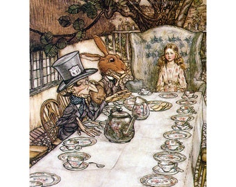 Alice in Wonderland Fabric Block - Tea Party Mad Hatter - Arthur Rackham
