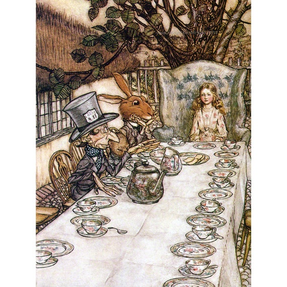 alice in wonderland mad hatter tea party print fabric