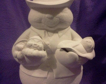 "Clay Magic 679 /  680   Snowman /  Snow babies 10""  ready to piant ceramic bisque"