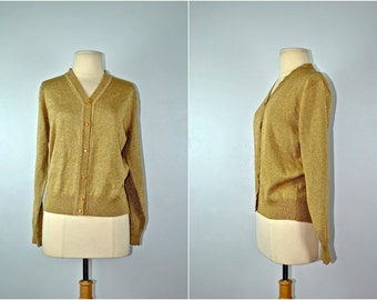 Vintage Gold Sweater, Button Down Gold Sweater