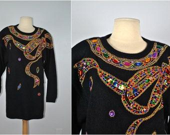 Vintage Cedar Sport Sweater, 80s Sweater, Vintage Jeweled Sweater