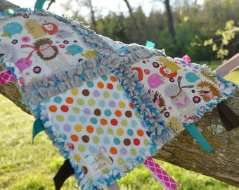 Woodland Baby Tag Blanket / Minky Blanket for Girls in Multi Color