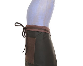 Half-apron. leather pocket, fully lined - leather pocket and straps with British waxed cotton
