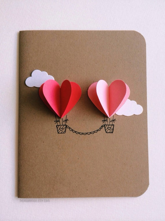Couple Heart Hot Air Balloon Card