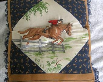 Fox Hunt Cotton Throw Pillow, Equestrian Jump Rider