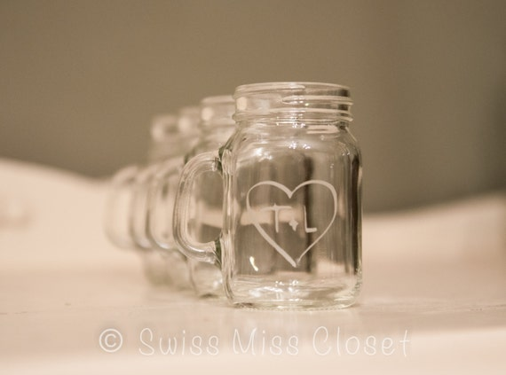 SALE!!! set of 72 Custom Etched Mini Mason Jar Shot Glass Personalized  Wedding Favor Groom's Men Gift