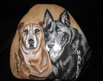 Pet Memorial Stone/ Custom Portrait/ Rocks /Fine Art Stones / Acrylic / Home decor / Garden stone/Personalized /Memorial/ Great gift on Etsy