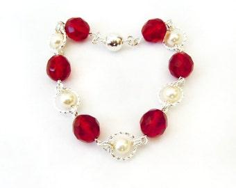 Silver Ring Bracelet, Cream Pearl Bracelet, Garnet Bracelet, Silver Bracelet, Silver Jewelry, Bracelets for Women