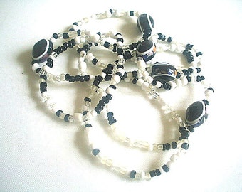 Extra Long Necklace Lucite & Glass Seed Beads Single Strand 33 Inches