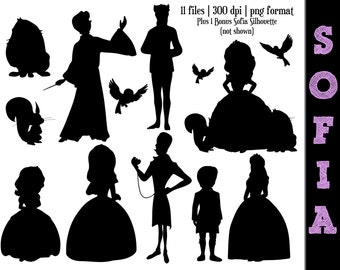 Sofia the First Silhouettes // Disney Princess Sofia Silhouette // Clip Art Clipart // Disney Princess Silhouettes