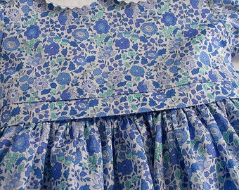 """Liberty Tana Lawn Dress in blue """"D'Anjo"""" print for A Little Girl"""