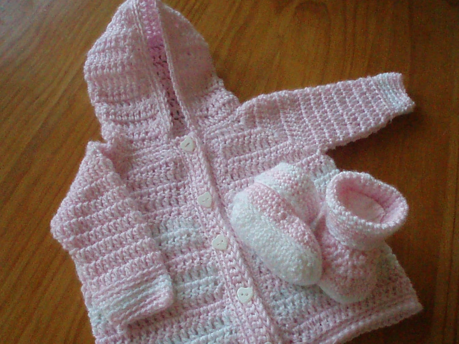 Crochet Pattern for Baby Hooded Sweater and Booties Hooded