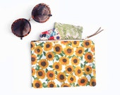 zipper pouch: sunflower pattern, make up bag/ clutch/ wallet/ purse/ pencil case/ toiletry/cosmetic bag. small, floral, cotton