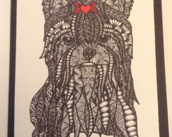 Zentangle Inspired Yorkshire dog  Note Card, Yorkshire Dog Print, Love Card